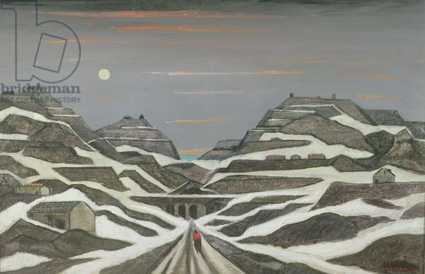 Welsh Slate Mines in Snow, 1959 (oil on canvas)