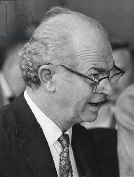 Nobel Prize Winning chemist, Dr. Linus C. Pauling, as he appeared before the Senate Internal Security Subcommittee on Nuclear Test Ban Propaganda. Pauling, a leading critic of nuclear tests, testified in open session on Jume 21, 1960. Washington, DC (b/w photo)