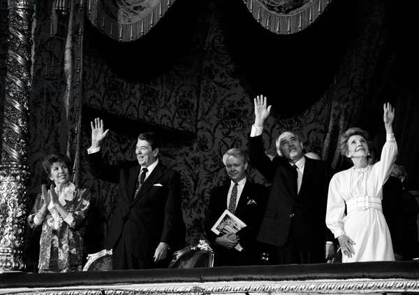 Ronald Reagan With Wife Nancy And Mikhail Gorbachev With Wife Raisa In The Bolshoi Theatre