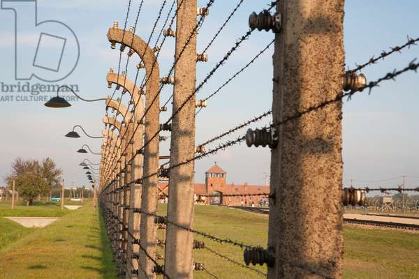 View of the Main Guard House Through the Electrified Barbed Wire Fence Separating Sections of the Auschwitz-Birkenau Concentration Camp, Oswiecim, Malopolska, Poland (photo)