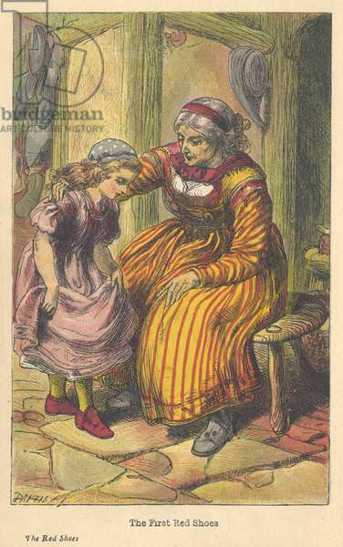 The Red Shoes, one of Hans Christian Andersen's Fairy stories Karen being given her first pair of red shoes by the shoemaker's wife on the day her mother is buried. Dalziel chromolithograph c1879.