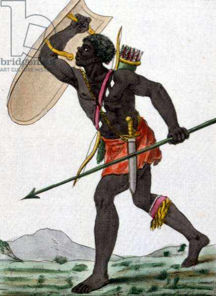 An African warrior with shield and spear