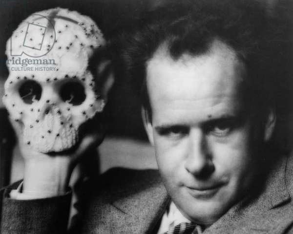 Sergei Eisenstein, Famous Russian (Soviet) Film Director, Eisenstein on Location Holding a Skull Prop.