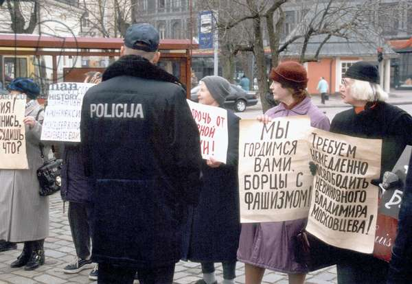 Riga, Latvia, April 10 2001: Representatives of Russian Community Protesting to Support Three Russian Citizens Accused of Terrorism for their Protest Action, Which They Organized at the Observation Platform of the Tower of St. Peter'S Church in Downtown Riga, in November 2000, Against Latvian Intentions to Join Nato, Riga District Court Opened Hearings on the Case on Tuesday, April 10, 2001, All the Accused Pleaded Not Guilty, the Law of Latvia Provides from 15 to 20 Years of Imprisonment for Commiting Terroristic Acts.
