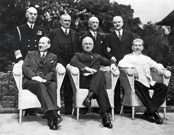 Potsdam Big Three Conference, Potsdam, Germany, August 10, 1945 (b/w photo)