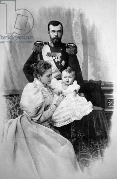 The Royal Couple of Russia, Tsar Nicholas Ll and Tsarina Alexandra Fyodorovna with Child.