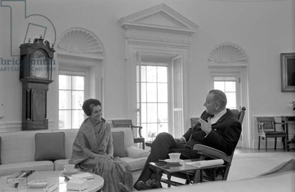 Indira Gandhi with President Lyndon Johnson of the USA, meet in Washington, 1968