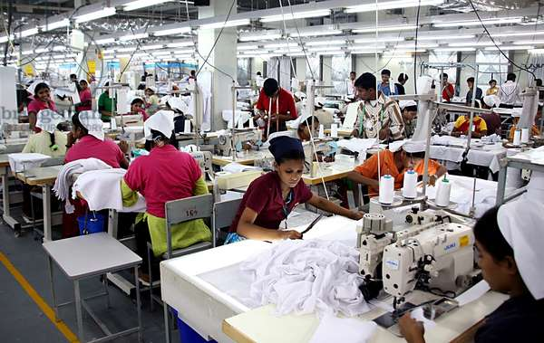 There are more than 175 factories employing about 80, 000 workers, 80% of whom are females in the Chittagong Export Processing Zone (CEPZ) in Chittagong, Bangladesh. The ready made garment industry has been the key export division and the chief source of foreign exchange for about 25 years. Not only does the country generate about 5 billion dollars worth of products each year but the industry itself provides employment to about 3 million workers throughout the country. Chittagong, Bangladesh. November 22, 2008.  (photo)