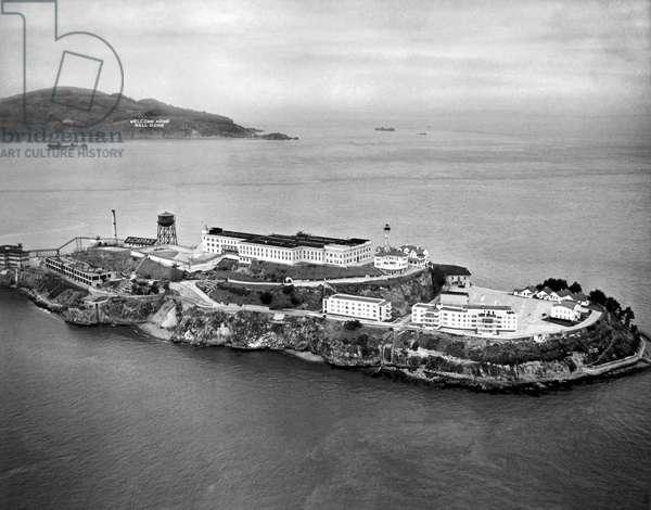 Alcatraz Island And Prison (b/w photo)