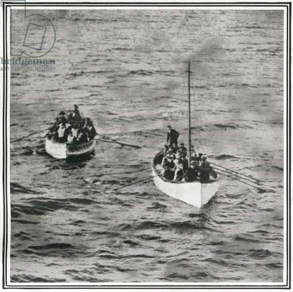 How the Titanic Survivors Were Picked Up by the Carpathia, from 'The Sphere', 04 May 1912 (litho) (detail of 450825)