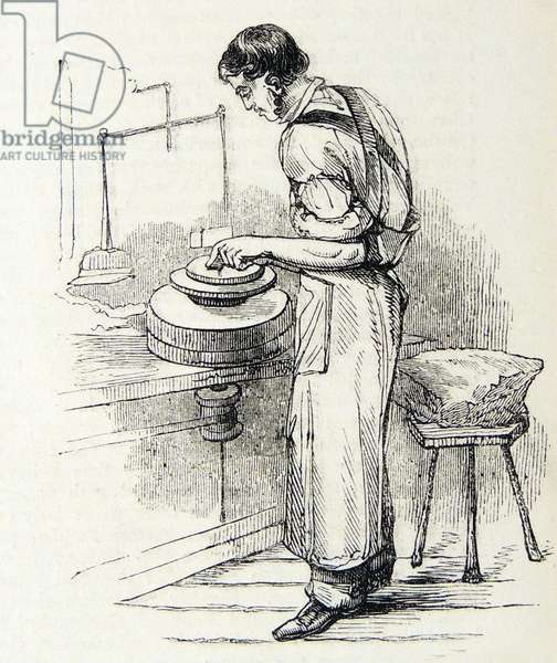 Making dinner plates, The Potteries, Staffordshire, England. Engraving, London, c1851.