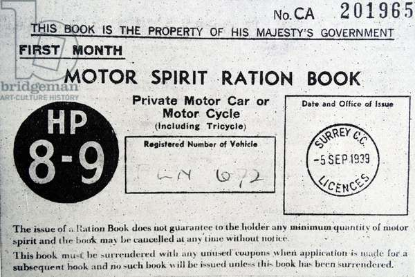 Copy of Motor Spirit Ration Book