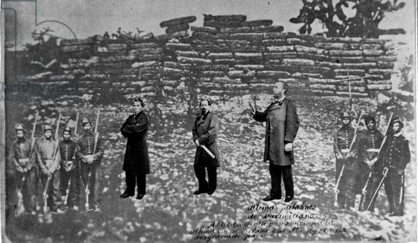 Maximilian I of Mexico (1832 - 1867), Tomas Mejia, and Miguel Miramon and firing squad, superimposed on photograph of their place of execution, at Queretaro. Maximilian. Emperor of Mexico (1864-1867).