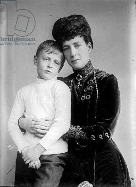 Maud Queen of Norway with her son Prince Olav
