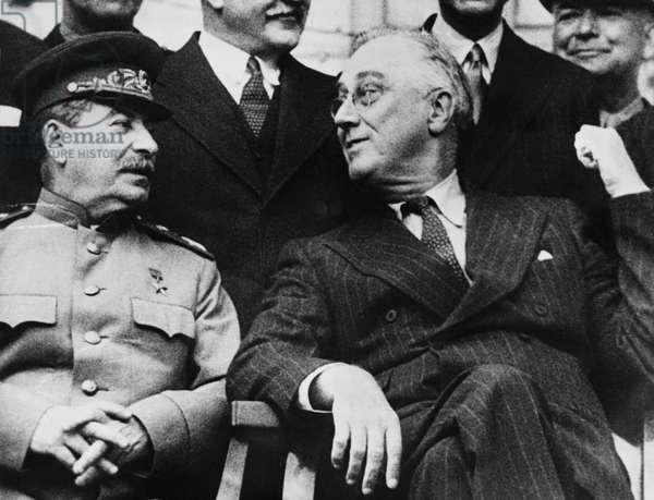 Roosevelt And Stalin, Tehran, Iran, December 7, 1943 (b/w photo)