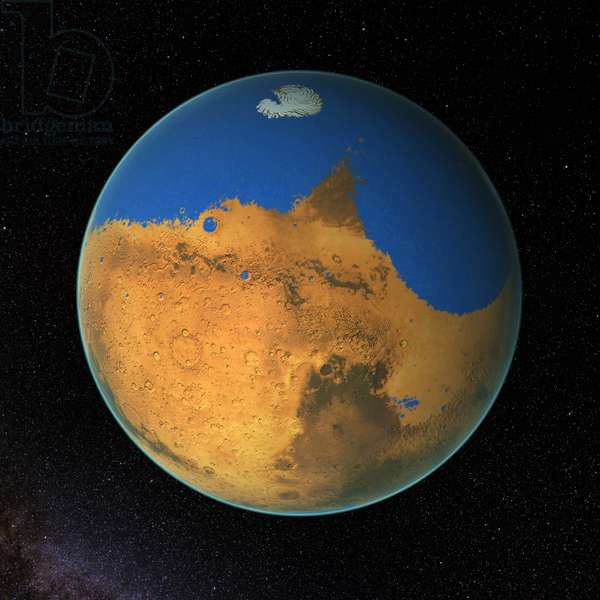 Computer-generated views of Mars with it's primitive ocean, 2016
