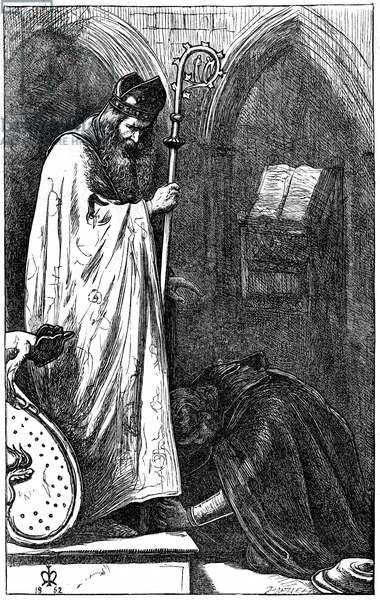John Everett Millais (1829-1896) English artist and founder member of Pre-Raphaelite Brotherhood. Illustration for the poem The Bishop and the Knight published in The Cornhill Magazine, London, 1862. The Knight  penitent before the Bishop who, on hearing his sin, refuses to shrive him. Engraving.