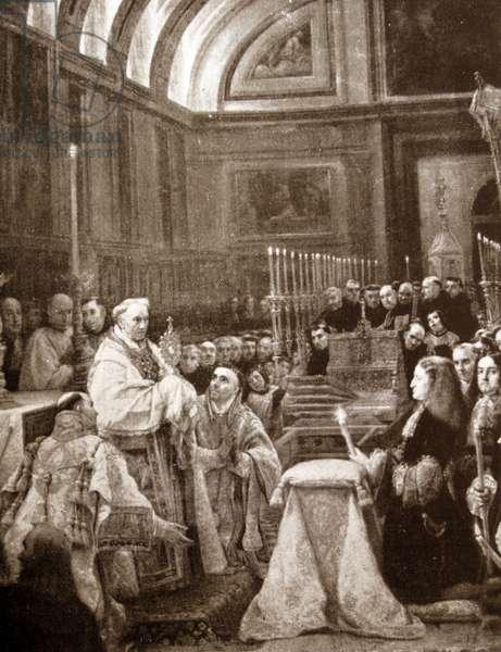 King Charles II (Carlos II) (1661 – 1700) last Habsburg ruler of Spain celebrates Eucharist