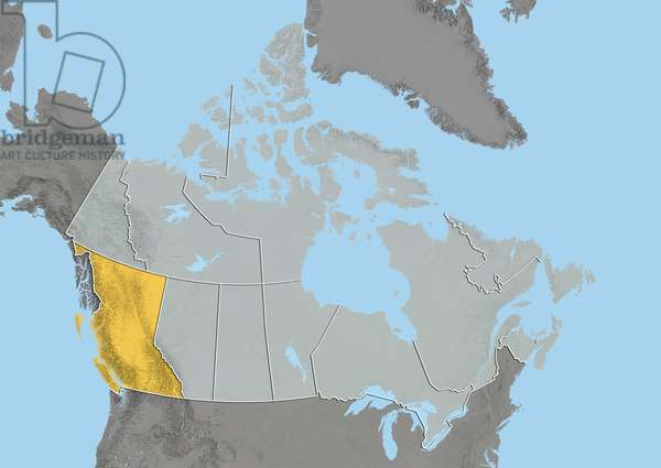 Province of British Columbia, Canada, Relief Map