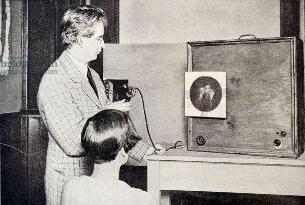 John Logie Baird Testing a Television, 1925
