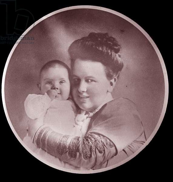 Queen Emma of Holland with her daughter Wilhelmina, 1880