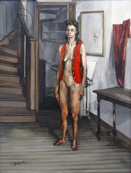 Female Nude in a Red Cardigan
