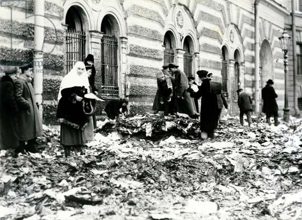 Street scene after looting in a Russian city during the 1917 Russian Revolution