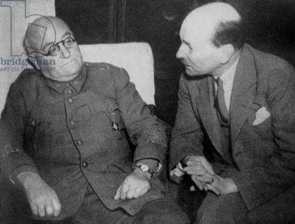 José Miaja Menant a republican General meets with British Labour politician Clement Atlee
