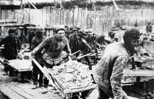 Deported Peasants and Political Prisoners Used as Slave Labor to Build the White Sea - Baltic Canal (Belomarkanal) in Northern European Russia, USSR, 1932.