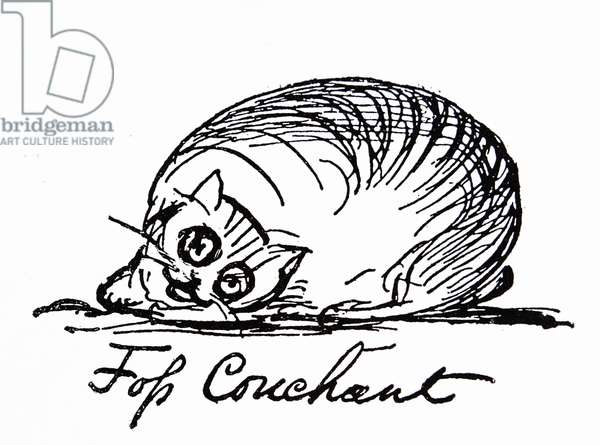 A cat caracater by Edward Lear (1812 – 1888) English artist, illustrator, author and poet,