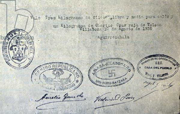 Spanish civil war: rationing document carrying several stamps