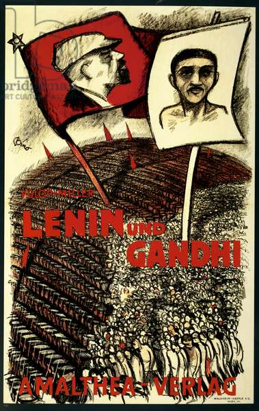 Political Poster. Austria. 1927. Lenin and Gandhi.