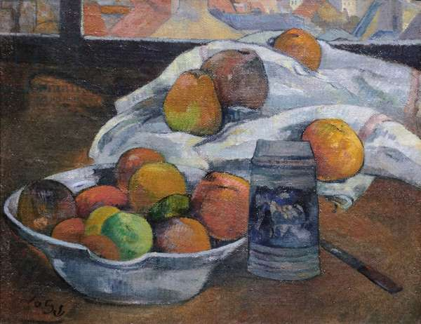 Bowl of Fruit and Tankard before a Window, c.1890 (oil on canvas)