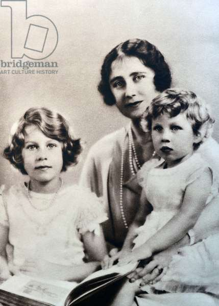 Family portrait of the Duchess of York (later Queen Elizabeth) and her two daughters, 1934