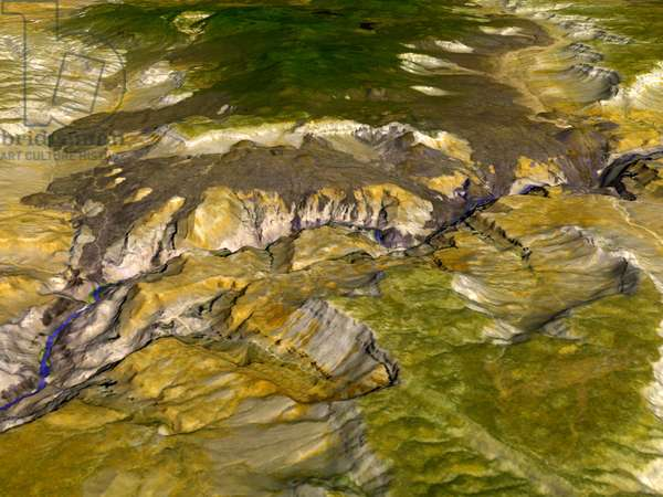 Satellite thermal emission and reflection image of the Grand Canyon, Arizona, USA. Because different minerals reflect different portions of the light spectrum, varying mineral composition is visible. Credit NASA. Science Geology