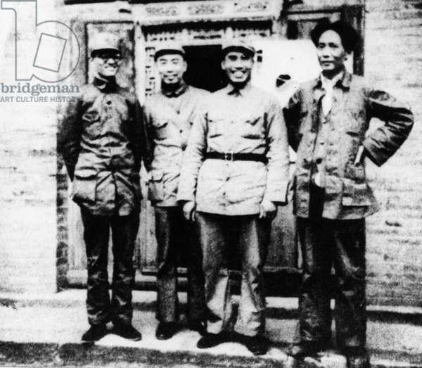 (right to left) Mao Zedong, Zhu De, Zhou Enlai, and QinBangxian in Northern Shaanxi after The Long March, 1937