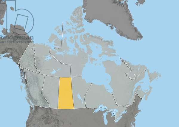 Province of Saskatchewan, Canada, Relief Map