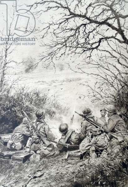 French artillery fire in a battle, 1917