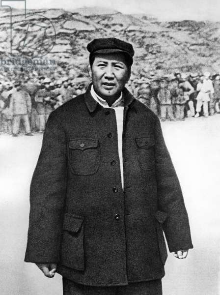 Chairman Mao at the Drill Grounds in Yenan in 1944.