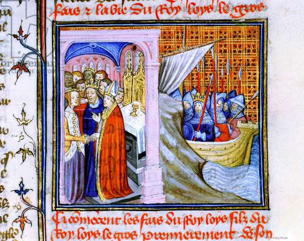 Marriage of Eleanor of Aquitaine (c1122-1204) and Louis VII of France (1137) left, and embarkation for Second Crusade 1147-1149. From Chronique de St Denis, Musee Conde, Chantilly. Eleanor's second marriage was to Henry Plantagenet, Henry II of England.