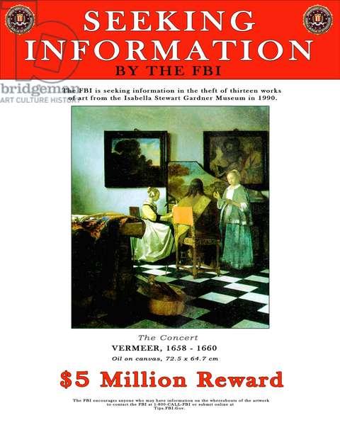 FBI poster offering a reward for information about an art theft (digital)