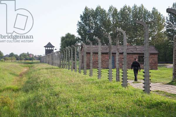 Electrified Barbed Wire Fence Along the Perimeter of the Auschwitz-Birkenau Concentration Camp, Oswiecim, Malopolska, Poland (photo)