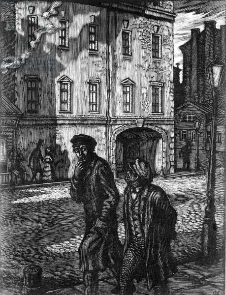 Crime and Punishment' Novel by Fyodor Dostoyevsky, Feodor Konstantinov'S Illustration (Woodcut), 1945.