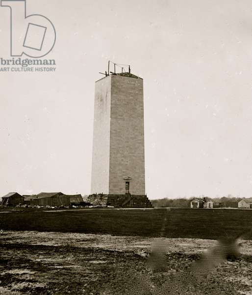 Uncompleted Washington Monument as a result of the Civil War 1864 (photo)