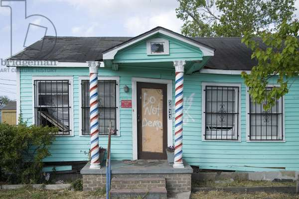 Barber Shop located in Ninth Ward, New Orleans, Louisiana, damaged by Hurricane Katrina in 2005 2005 (photo)