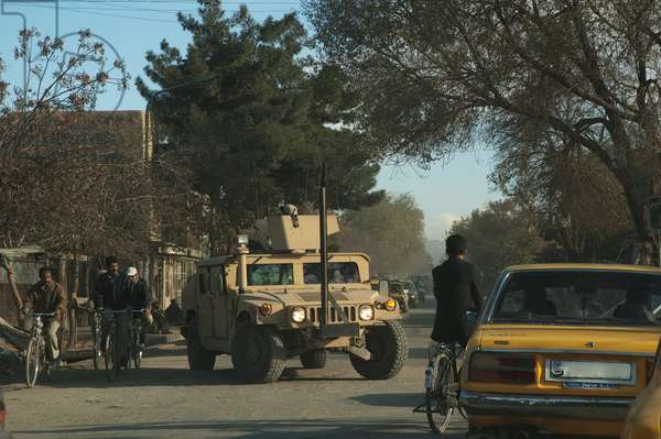 Military Humvee on A Kabul Street, Afghanistan (photo)