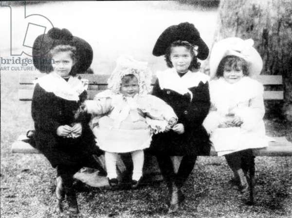 Daughters of Tsar Nicholas and Tsarina Alexandra, Olga, Tatyana, Maria, Anastasia.