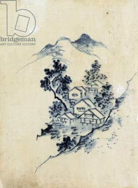 Buildings nestled among trees in a mountain valley by Hokusai Katsushika
