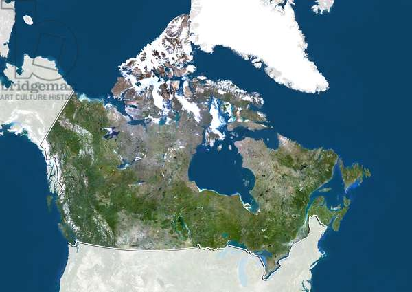 Canada, True Colour Satellite Image With Border and Mask