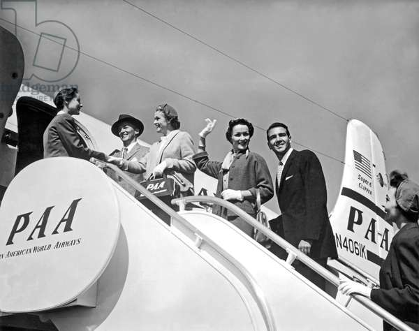 Passengers Board PanAm Clipper (b/w photo)